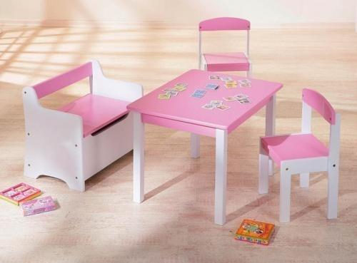 table et 2 chaises enfant rose et blanc lotta. Black Bedroom Furniture Sets. Home Design Ideas