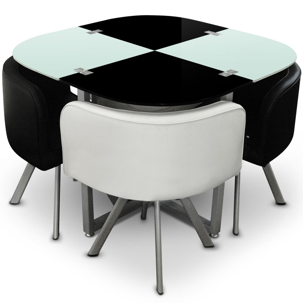 table et 4 chaises mosaic 100 blanc et noir. Black Bedroom Furniture Sets. Home Design Ideas