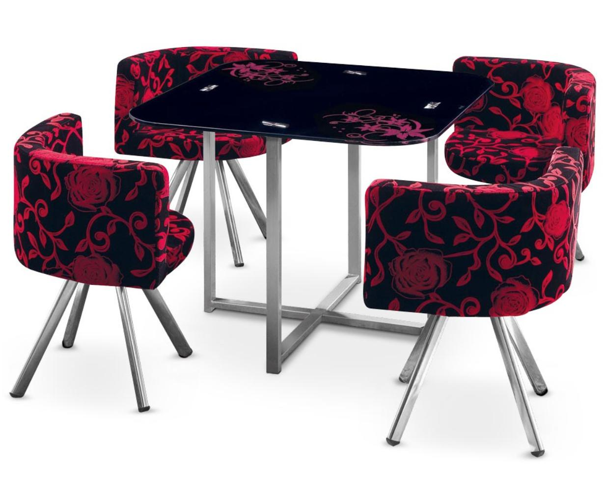 table et 4 chaises mosaic 90 fleurs rouge et noir. Black Bedroom Furniture Sets. Home Design Ideas
