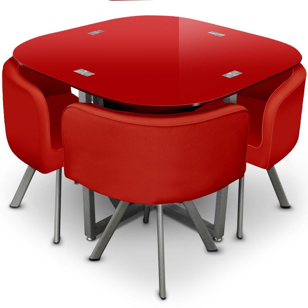 Table et 4 chaises mosaic 90 rouge for Table et 4 chaises
