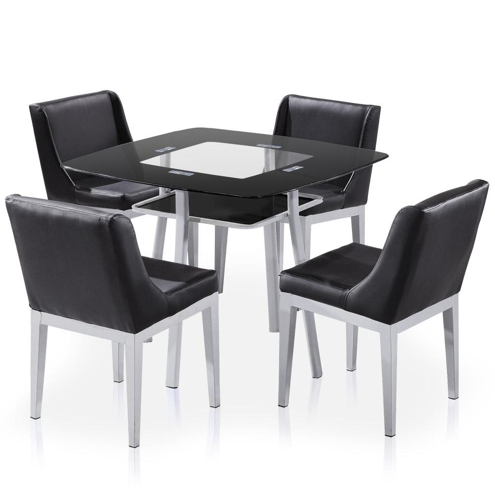 Table carr e en verre noir et 4 chaises domu for Table chaise noir