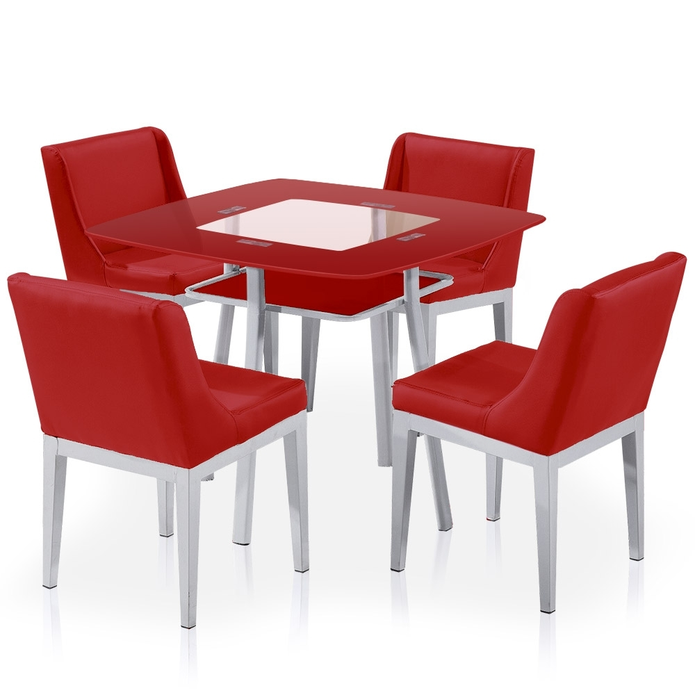 Table carr e en verre rouge et 4 chaises domu for Table de cuisine kreabel