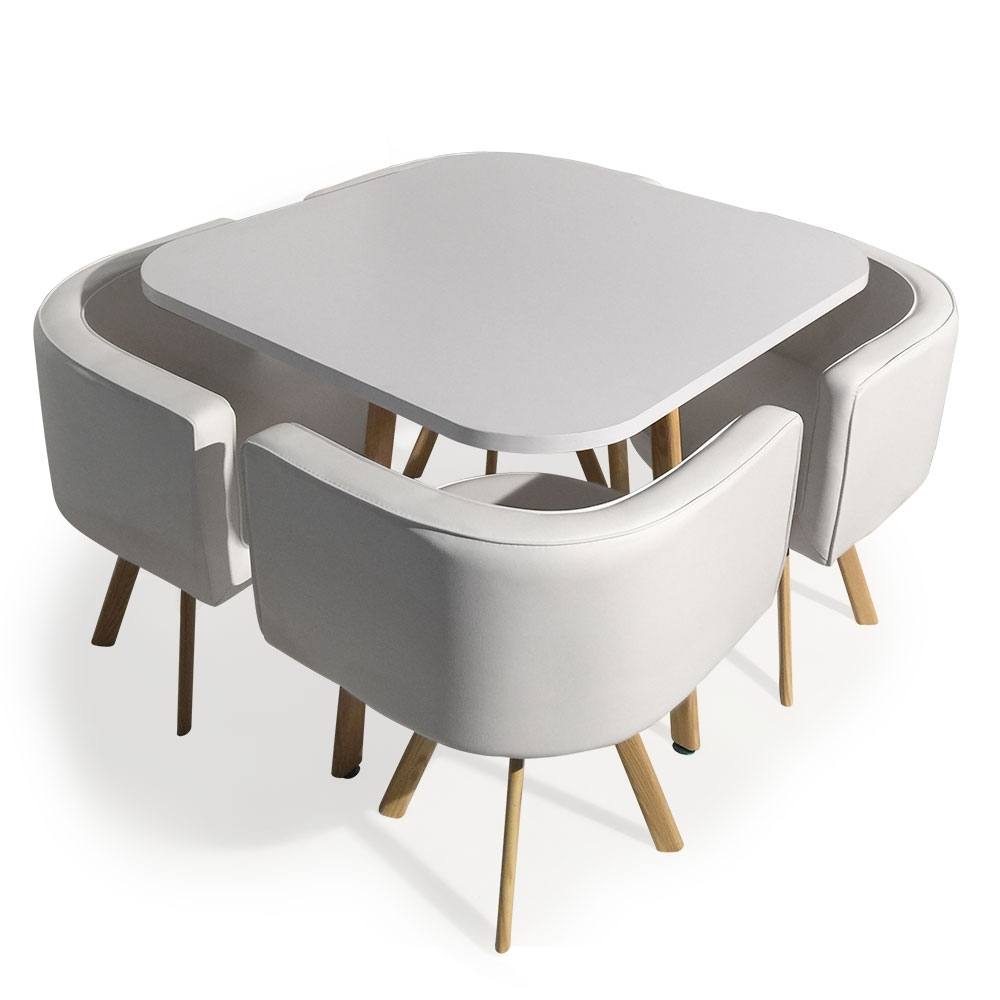Table et 4 chaises encastrables blanc paolo for Table salle a manger escamotable