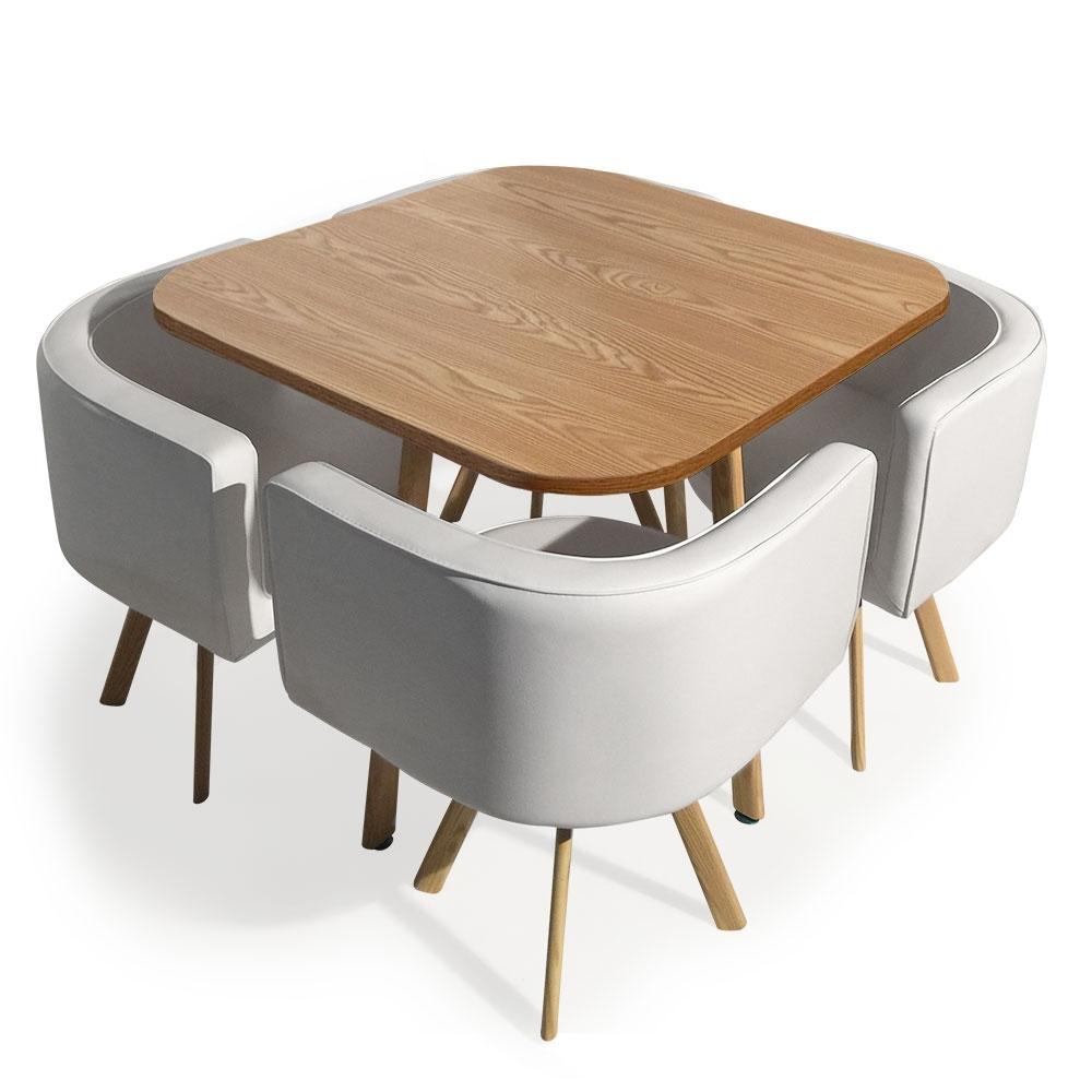 table et 4 chaises encastrables blanc paolo. Black Bedroom Furniture Sets. Home Design Ideas