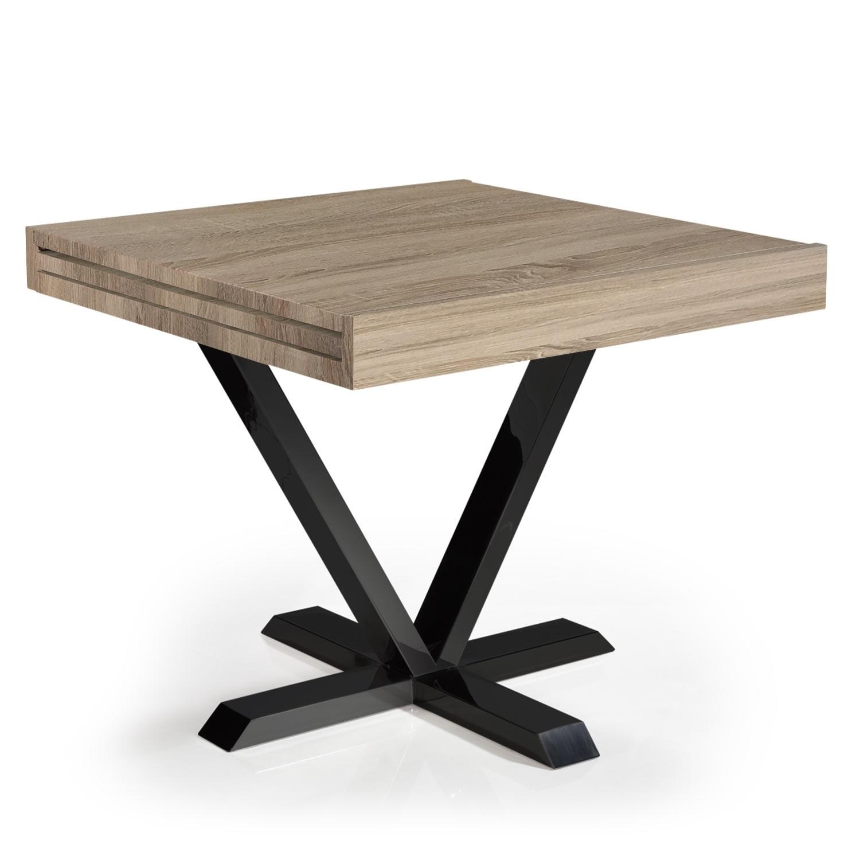 table extensible bois ch ne clair et m tal noir handle 90. Black Bedroom Furniture Sets. Home Design Ideas