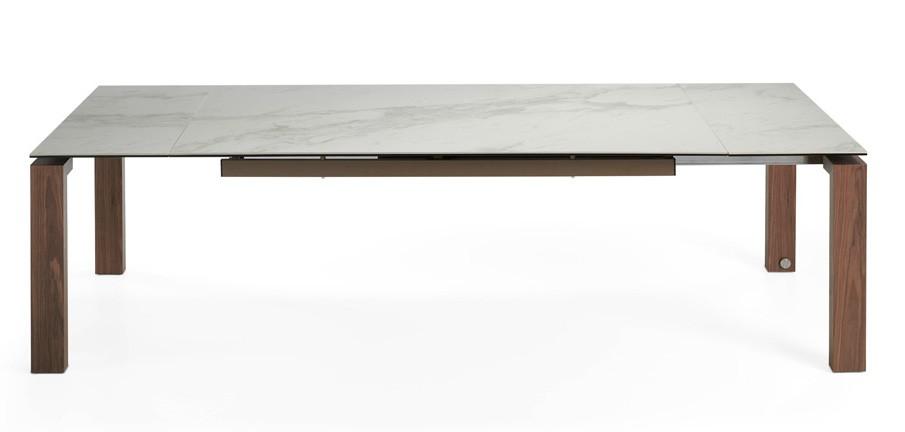 table extensible bois massif et plateau marbre de porcelaine 180 270 cm myral. Black Bedroom Furniture Sets. Home Design Ideas