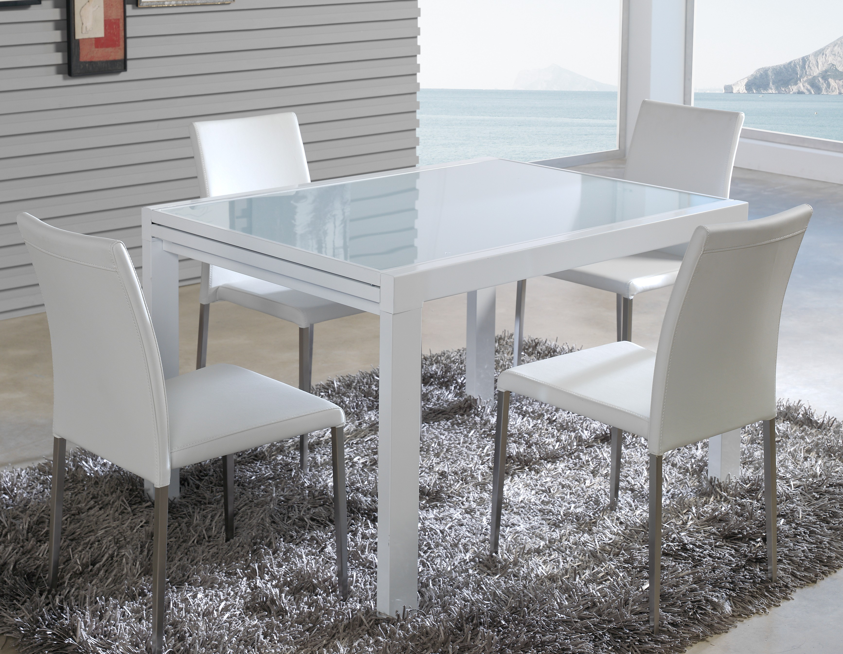 Table extensible design m tal blanc et verre tremp blanc for Table verre blanc extensible