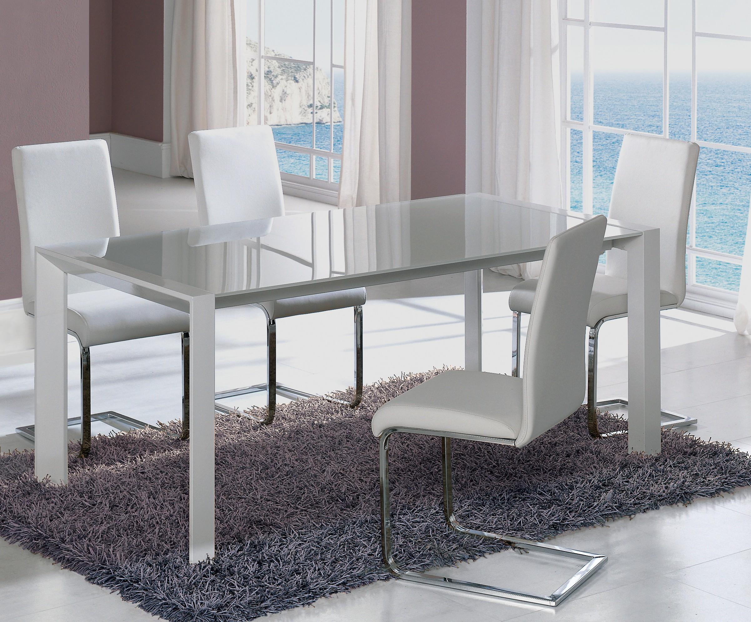 table extensible design m tal blanc et verre tremp blanc perla 140. Black Bedroom Furniture Sets. Home Design Ideas