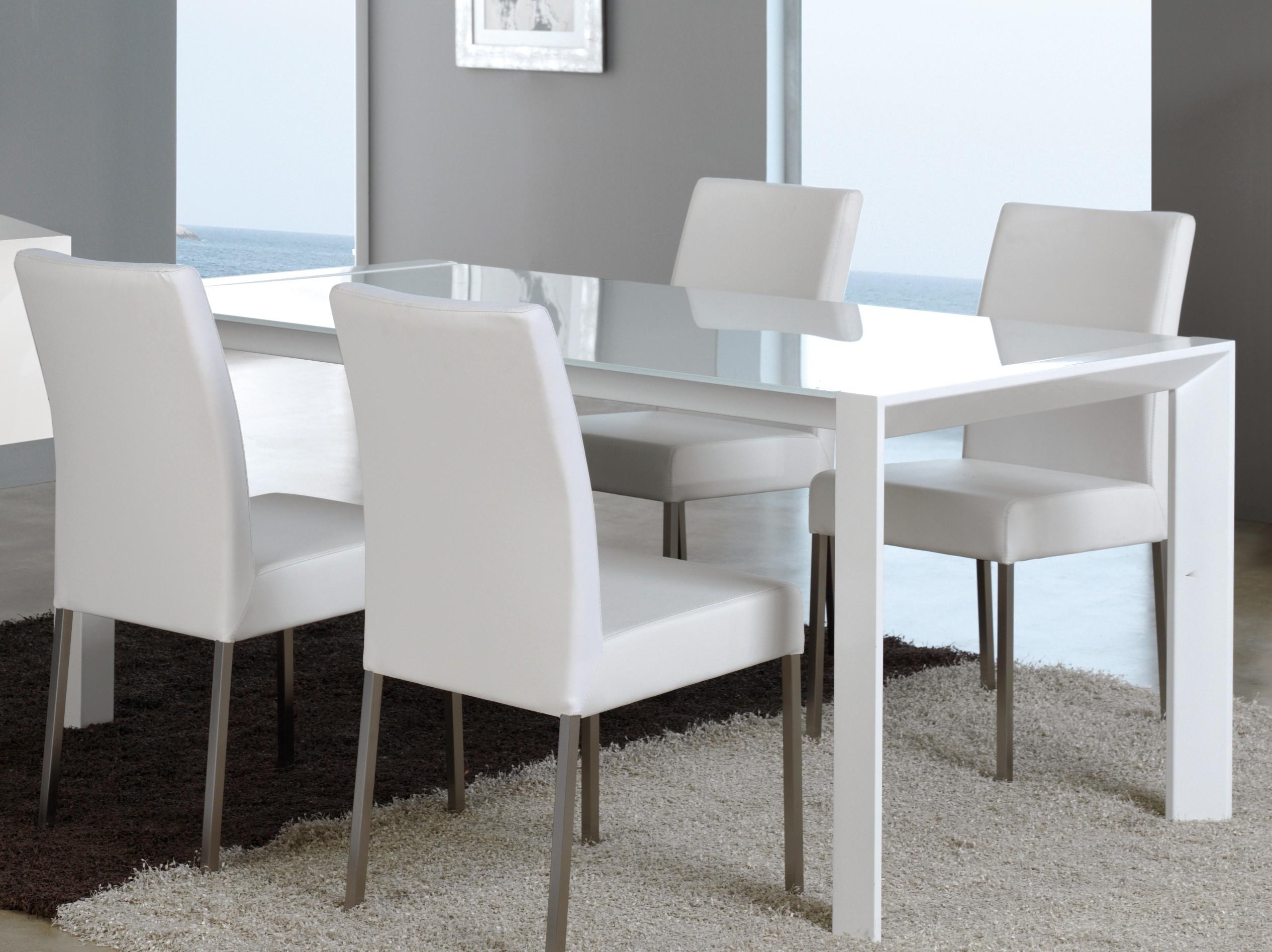 Table extensible design métal blanc et verre trempé blanc 160-220 cm Perla    LesTendances.fr 3e31732f7ad1