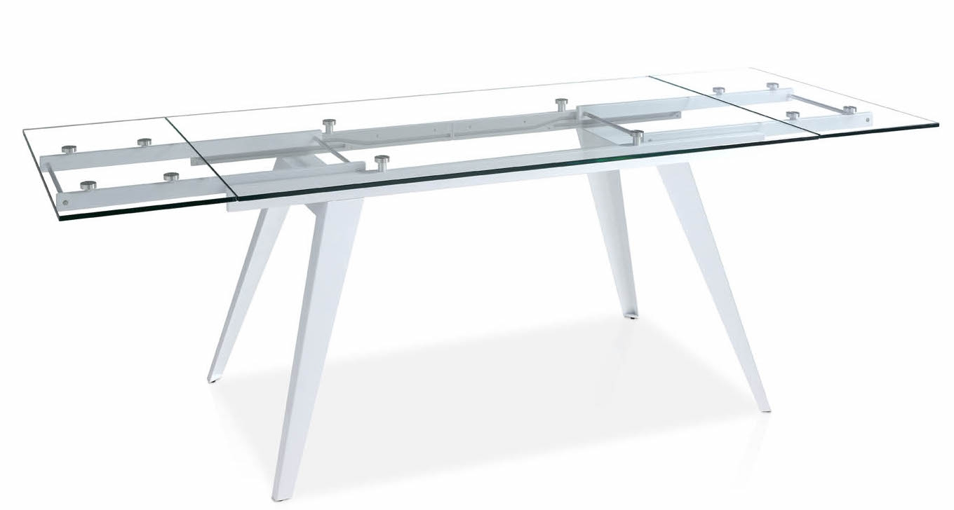 Table extensible verre tremp et acier inoxydable kagami for Table verre blanc extensible