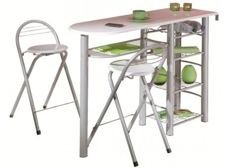 table de cuisine blanche et 2 tabourets frida. Black Bedroom Furniture Sets. Home Design Ideas