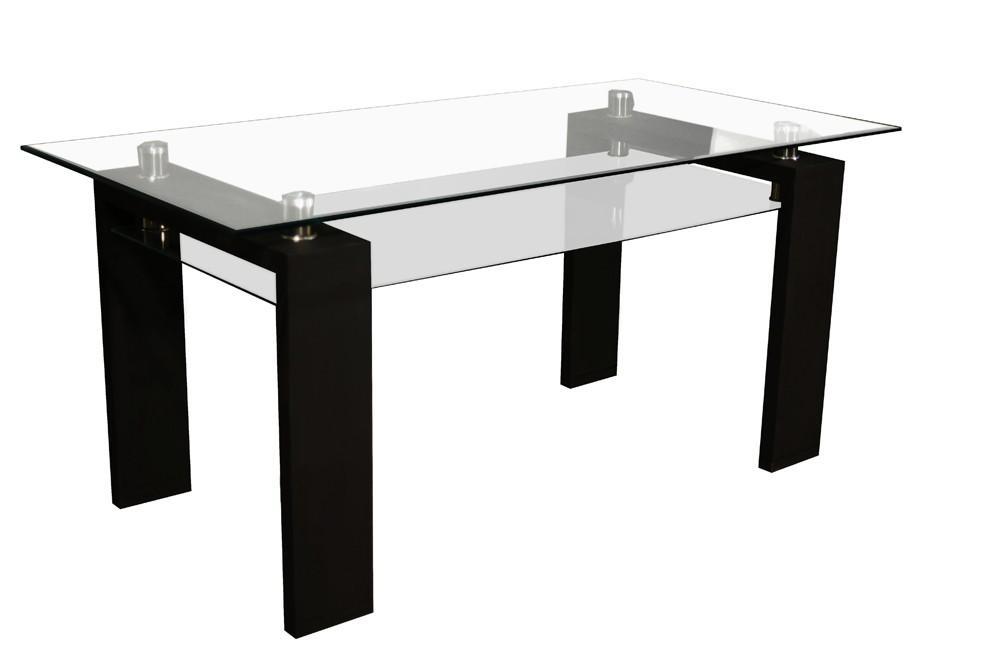 Table laqu e noire avec plateau en verre gloria for Table avec plateau en verre
