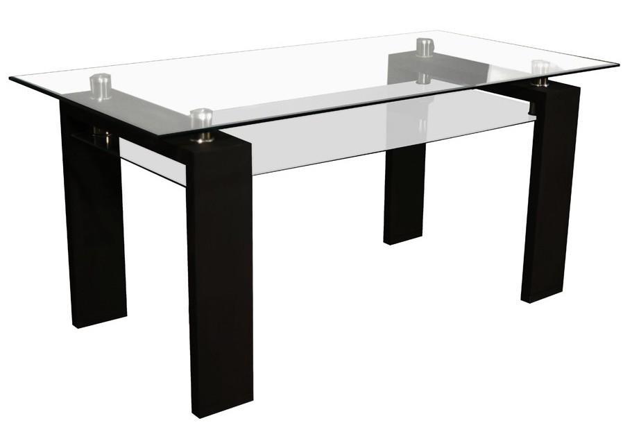 table rectangulaire laqu e noir plateau verre 160 mouna. Black Bedroom Furniture Sets. Home Design Ideas