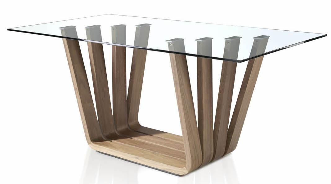 Table rectangulaire contemporaine bois noyer et verre trya - Table contemporaine bois ...