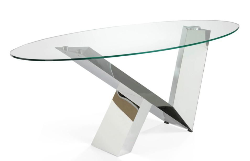 table ovale acier inoxydable et plateau verre tremp futura 150. Black Bedroom Furniture Sets. Home Design Ideas