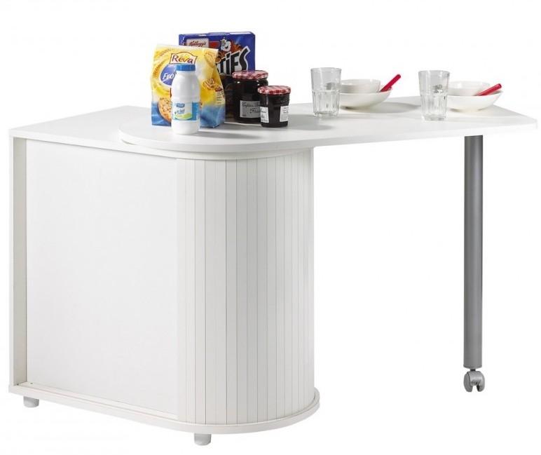 Mange debout avec meuble de rangement de blanc kooli for Meuble rangement bar cuisine