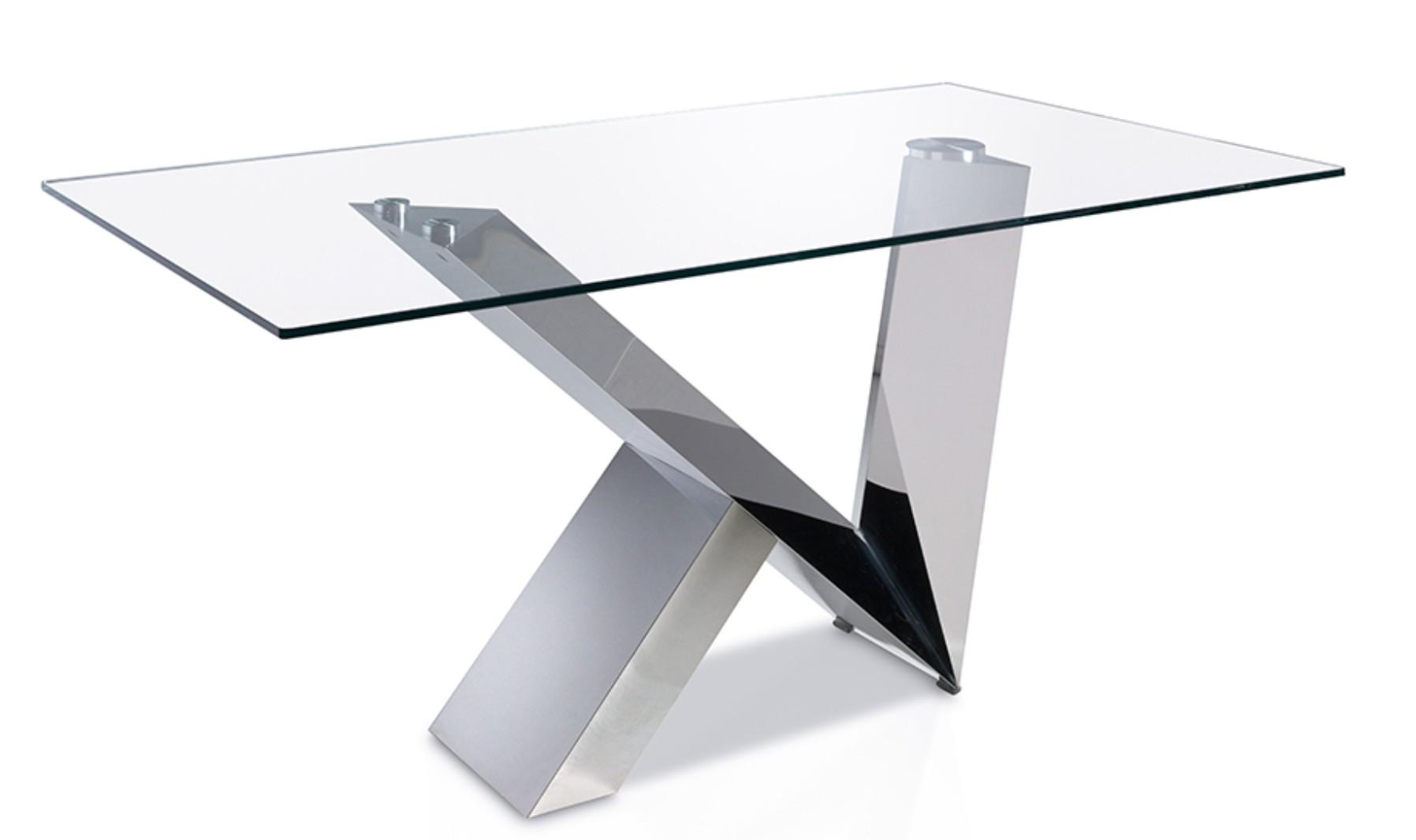 table rectangulaire acier inoxydable et plateau verre tremp futura 180. Black Bedroom Furniture Sets. Home Design Ideas