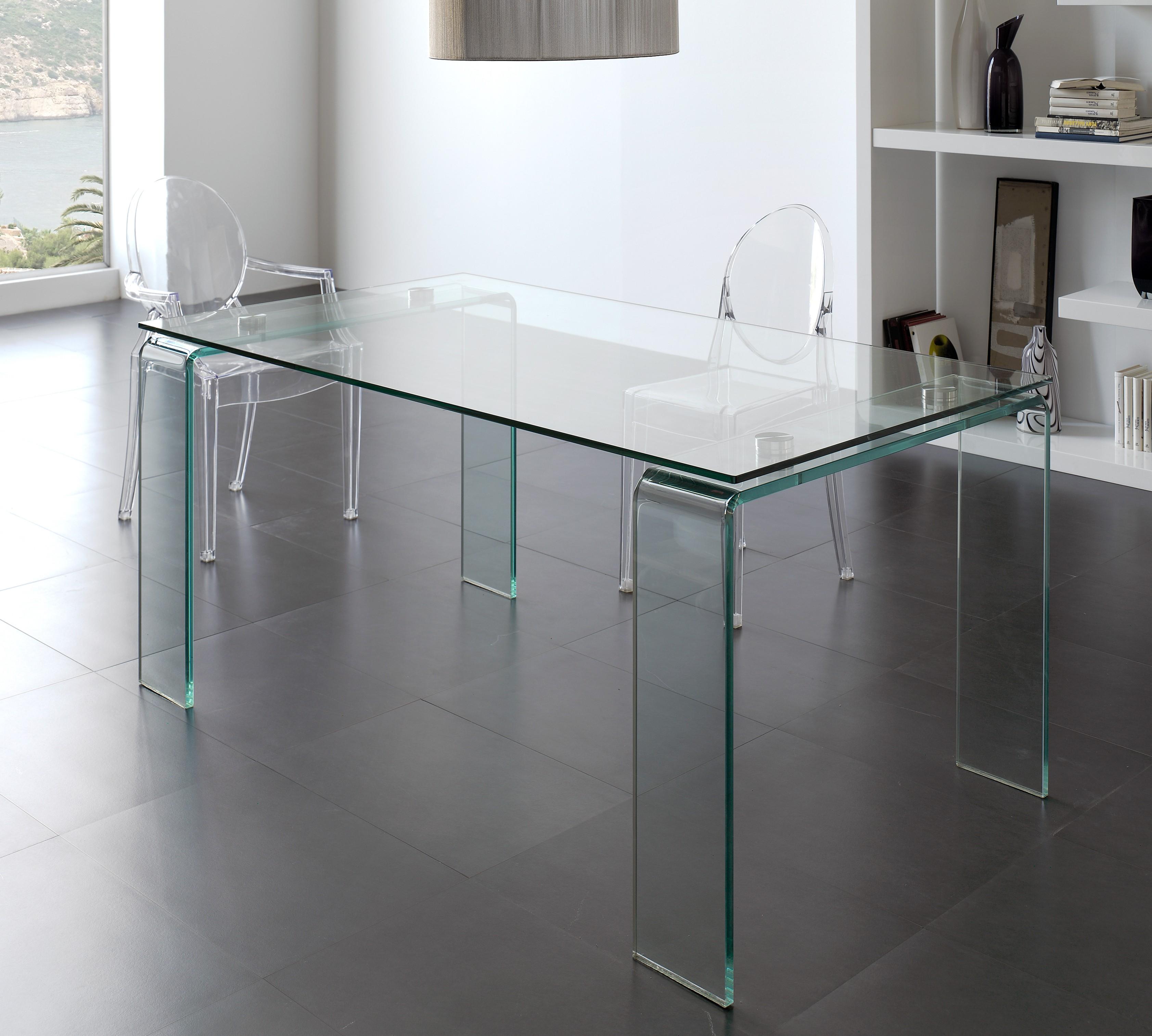 table rectangulaire en verre tremp kancia. Black Bedroom Furniture Sets. Home Design Ideas