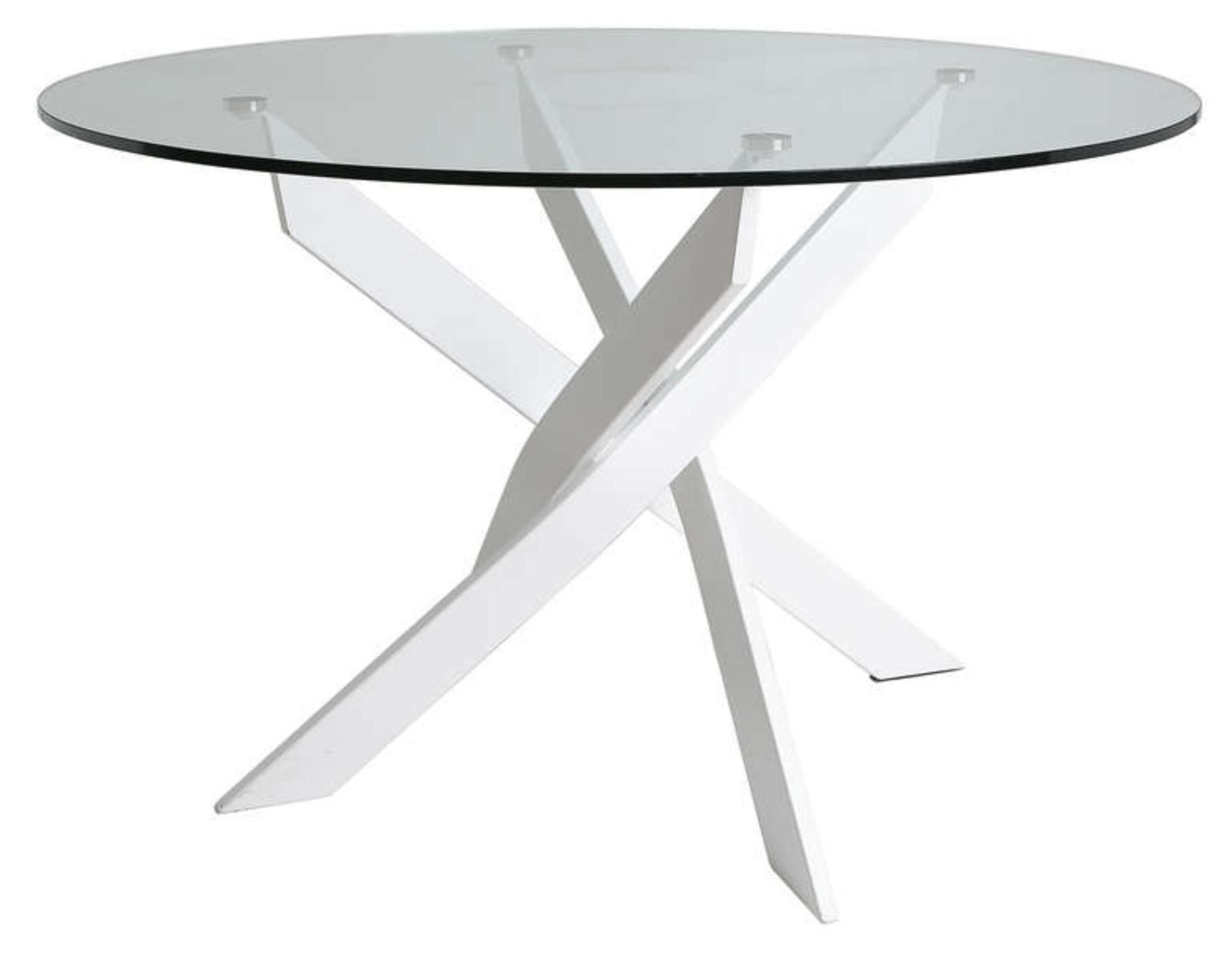 table ronde acier blanc et verre tremp kany 140. Black Bedroom Furniture Sets. Home Design Ideas