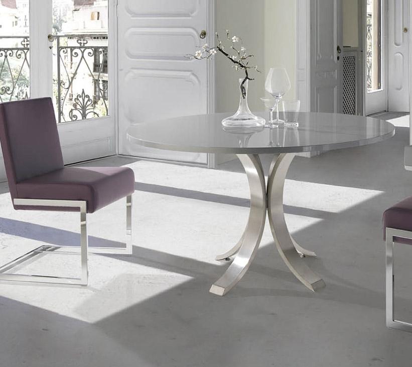 Table à manger ronde acier brossé et plateau bois Noyer Majestua ...