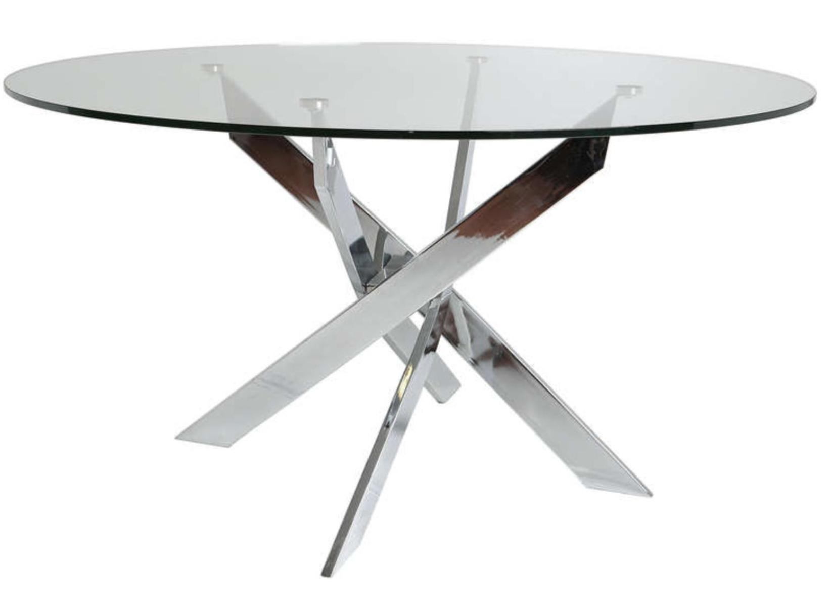 Table ronde acier chrom et verre tremp kany 140 for Table ronde verre fly
