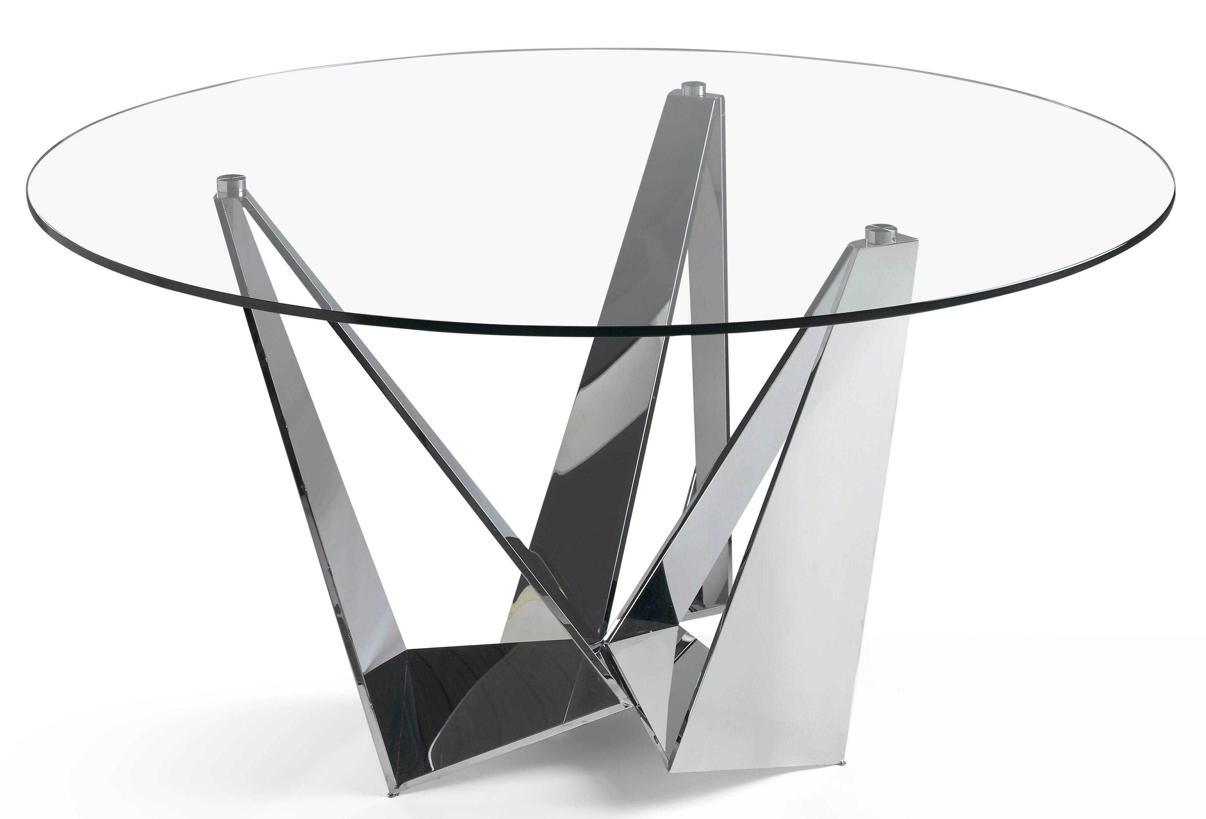 table ronde acier inoxydable et verre tremp trypa. Black Bedroom Furniture Sets. Home Design Ideas