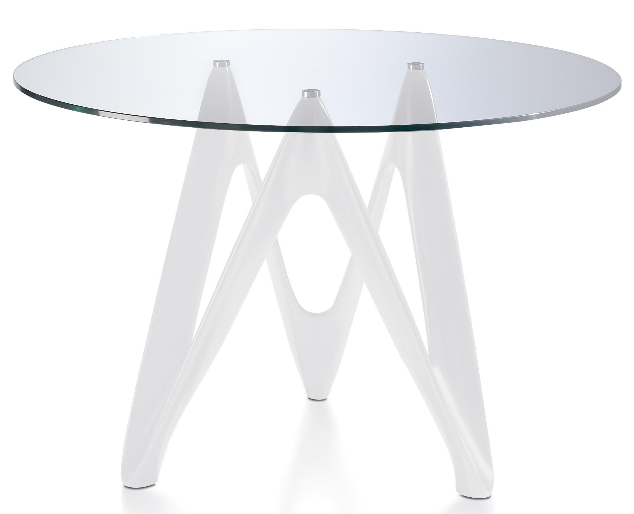 table ronde fibre de verre blanc et verre tremp perla dimensions d 110 x h 76 cm. Black Bedroom Furniture Sets. Home Design Ideas