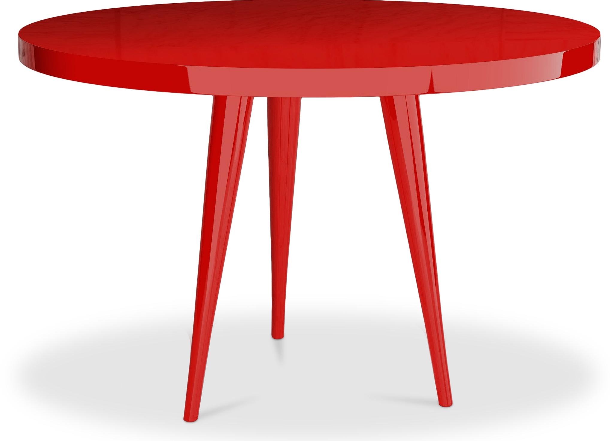 Table ronde haute qualit laqu rouge Kare LesTendancesfr