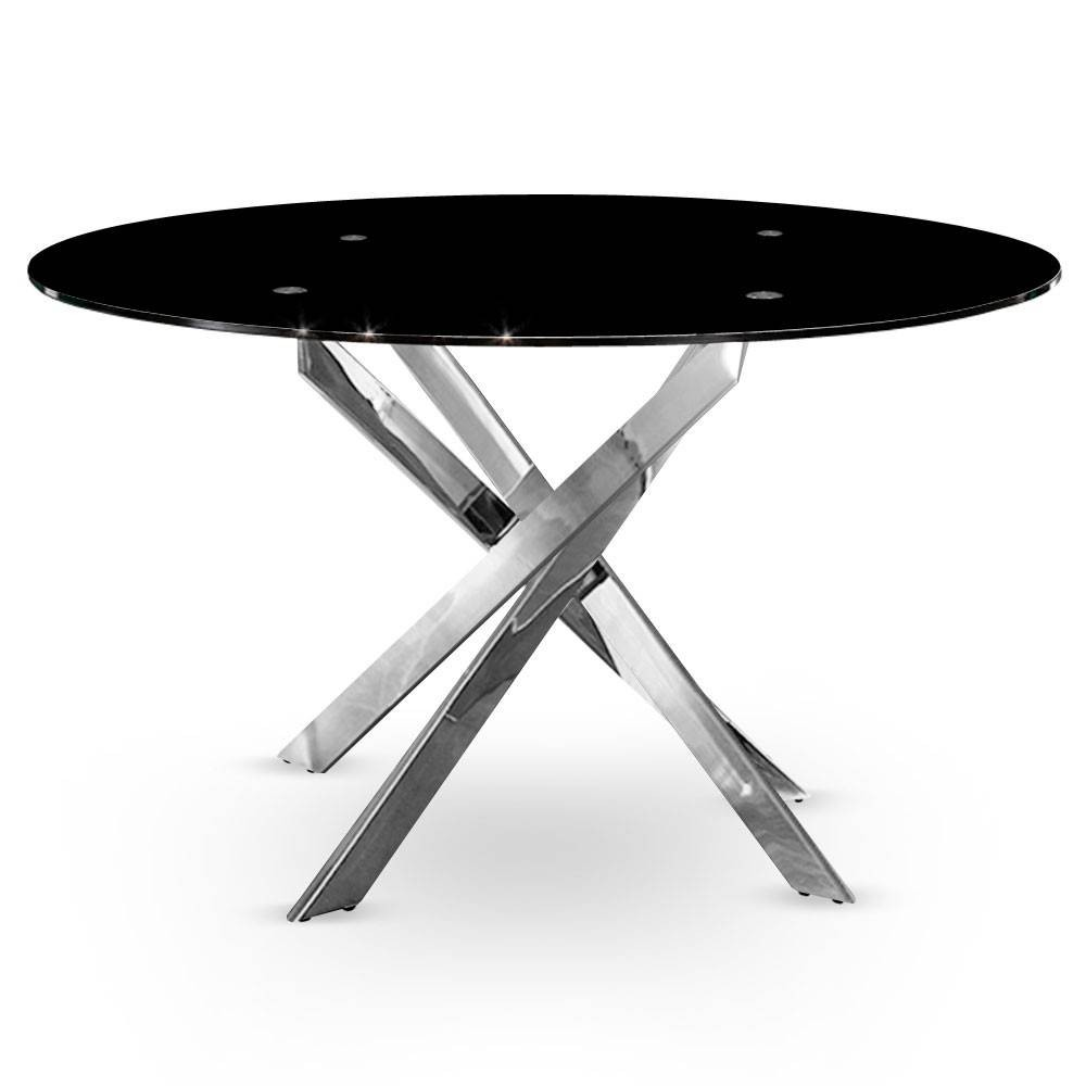 table ronde plateau verre noir tremp pieds chrom kum. Black Bedroom Furniture Sets. Home Design Ideas