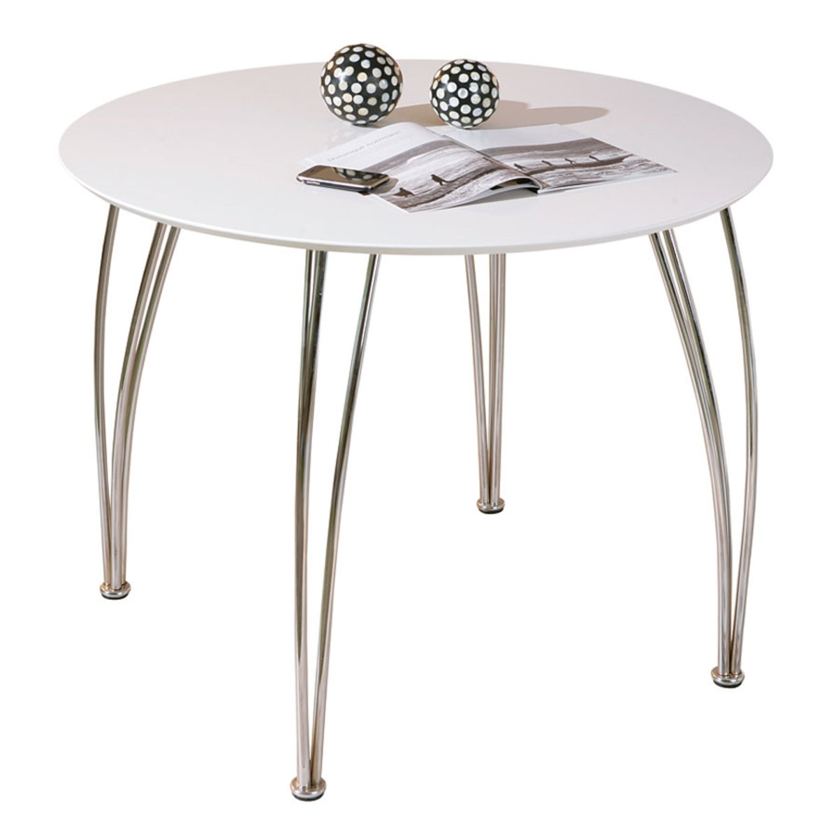 Table ronde laqu e blanche cellini - Table de cuisine ronde blanche ...