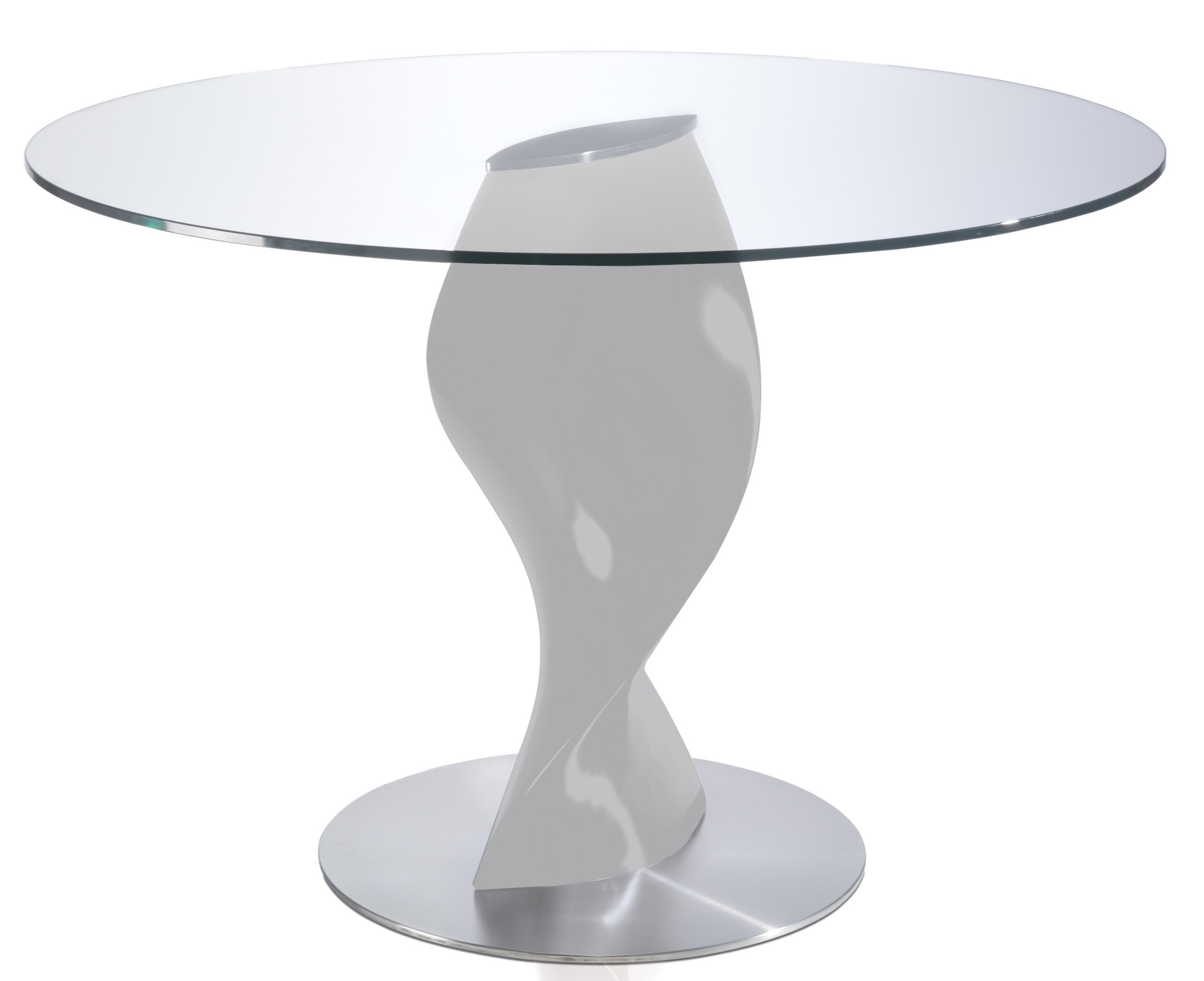 Table ronde laqu e gris perle en fibre de verre torsada - Dimension table ronde ...