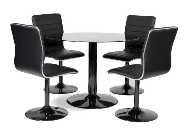 table ronde laquée noir et 4 chaises simili noir alister