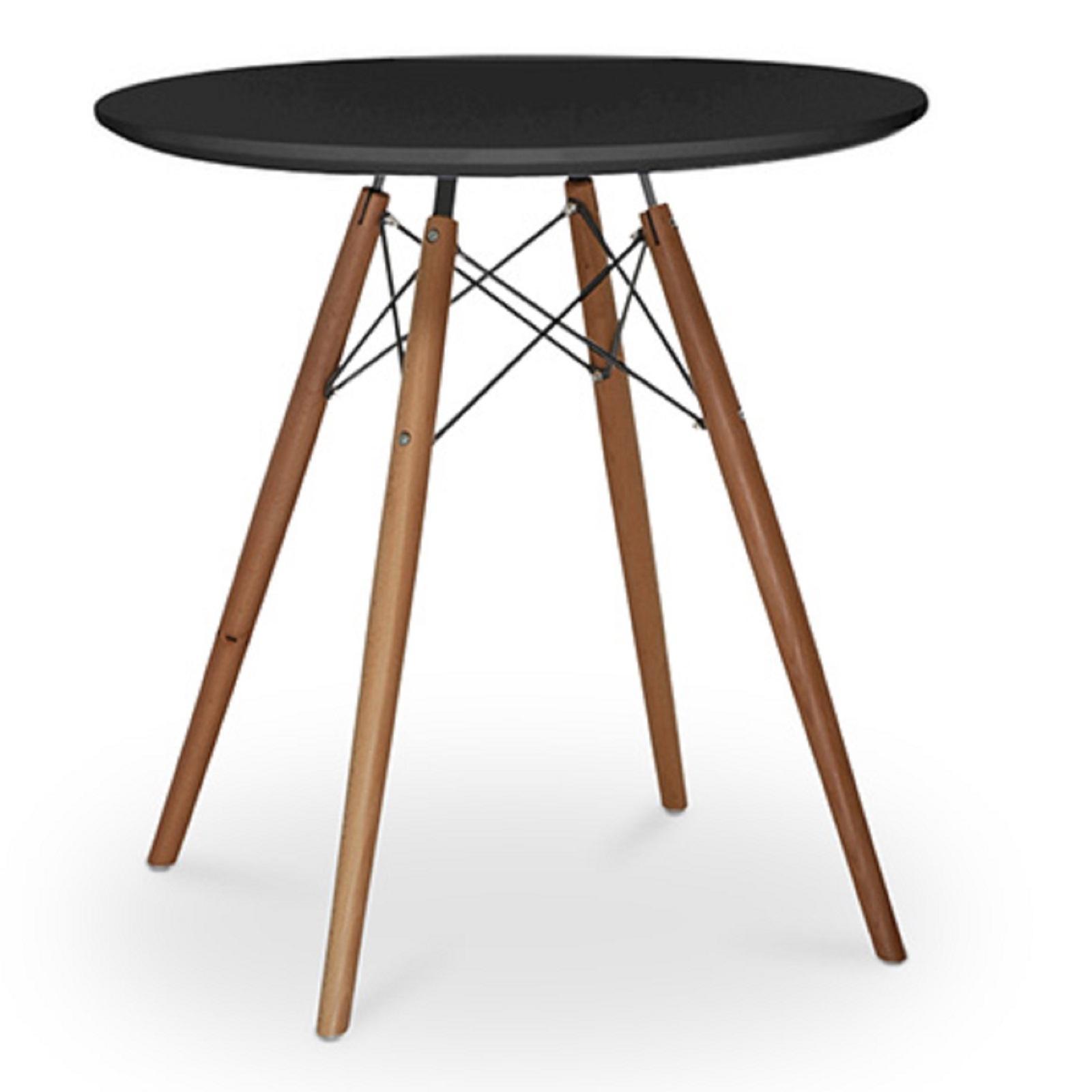 table ronde noire pieds bois fonc 70 bristol. Black Bedroom Furniture Sets. Home Design Ideas