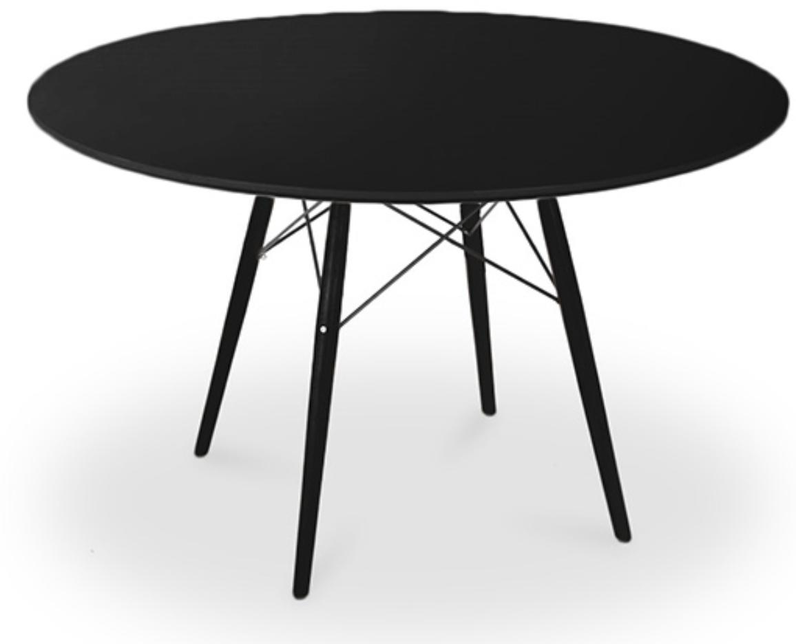 table ronde noire et pieds bois massif noir 100 bristol. Black Bedroom Furniture Sets. Home Design Ideas