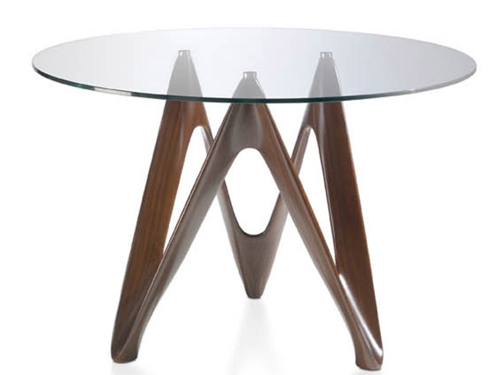 Table ronde noyer plateau en verre perla dimensions d 120 - Dimension table ronde ...