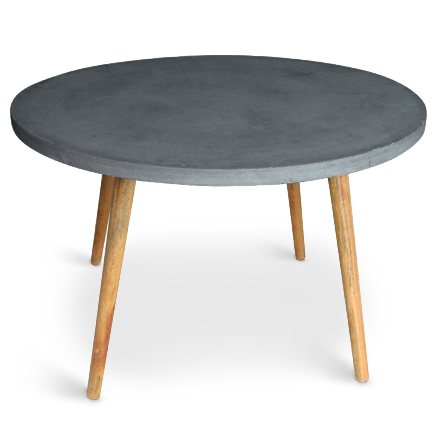 Table ronde effet b ton gris fonc mark - Table ronde grise ...
