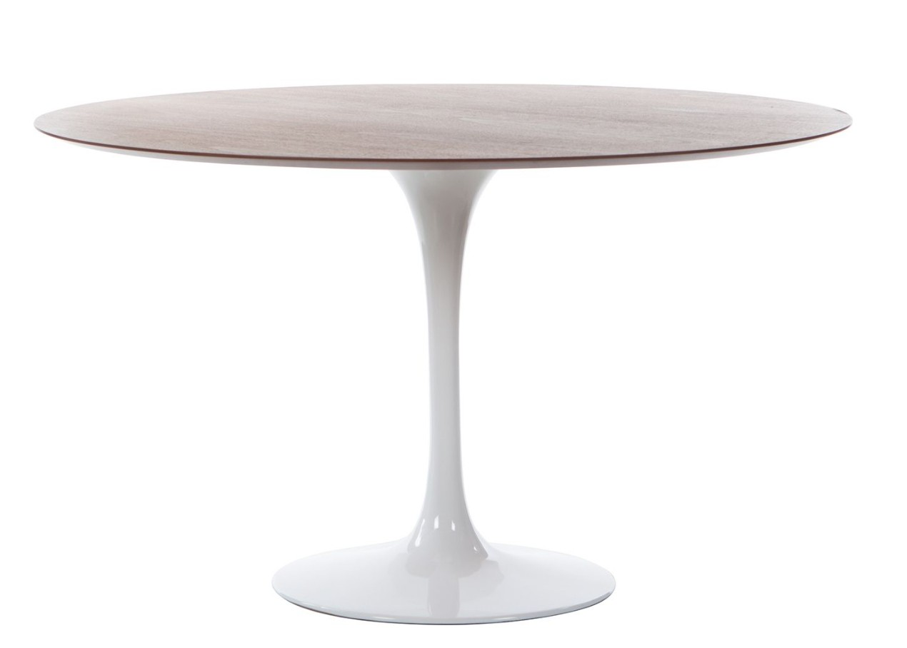 Table ronde tulipe plateau noyer pied blanc inspir e - Table ronde design pied central ...