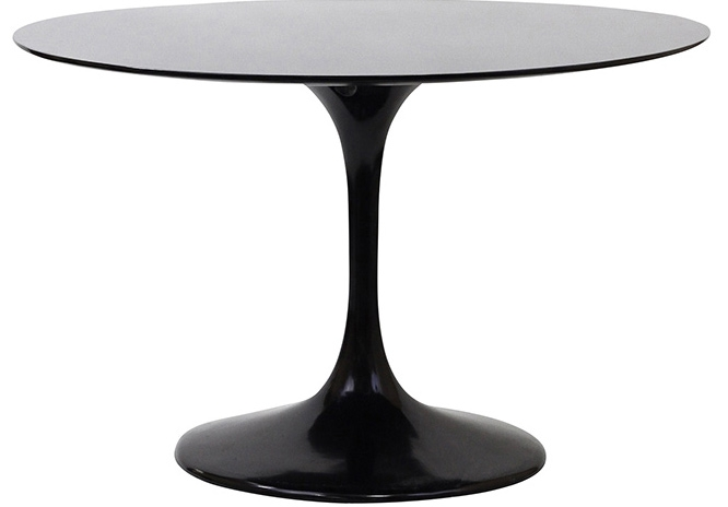 table manger ronde fibre de verre noir 90 cm inspir saarinen. Black Bedroom Furniture Sets. Home Design Ideas