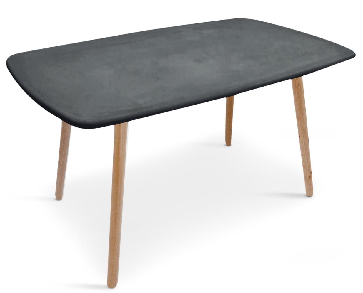 Table rectangulaire effet b ton gris fonc klark - Table a manger effet beton ...