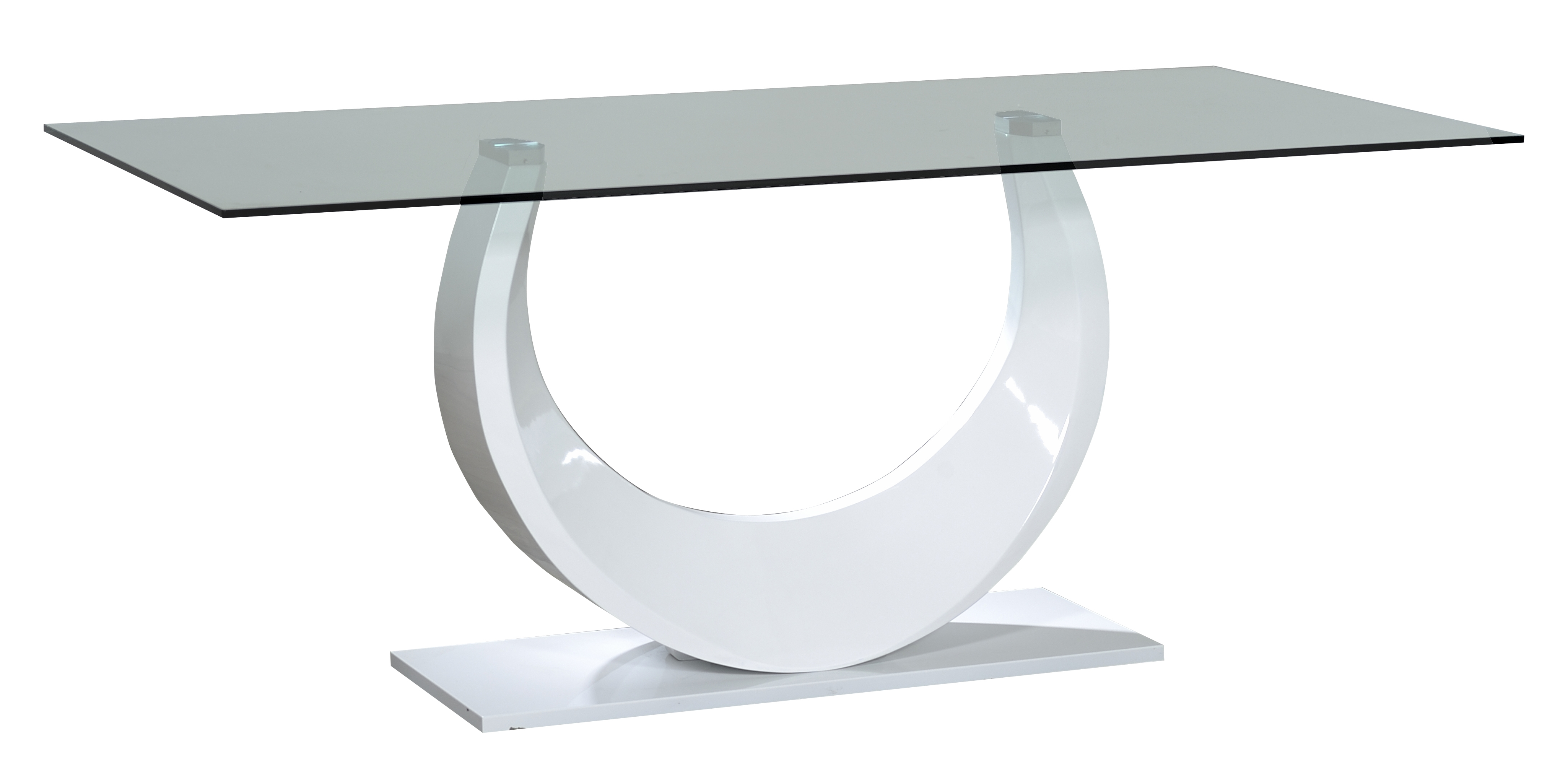 table en verre pied laqu blanc venita. Black Bedroom Furniture Sets. Home Design Ideas