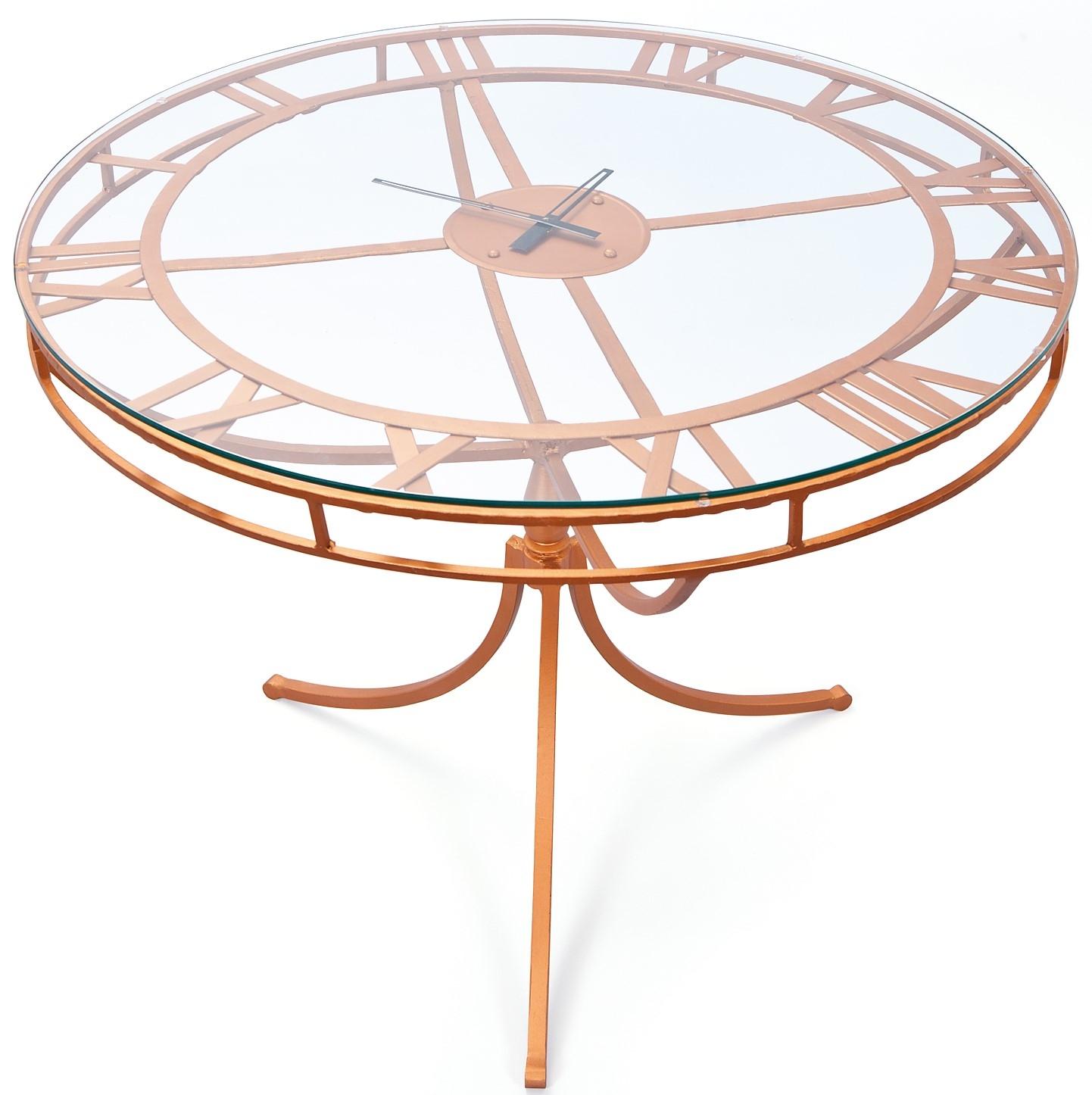 table manger ronde verre et m tal cuivre sonia. Black Bedroom Furniture Sets. Home Design Ideas