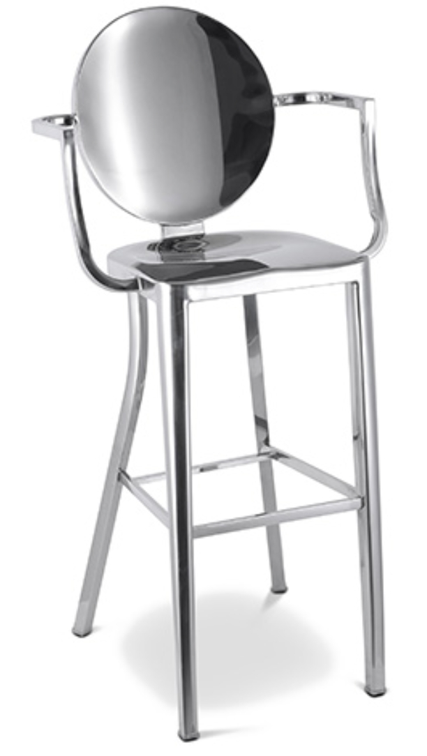tabouret aluminium avec accoudoir assise 60 inspir. Black Bedroom Furniture Sets. Home Design Ideas