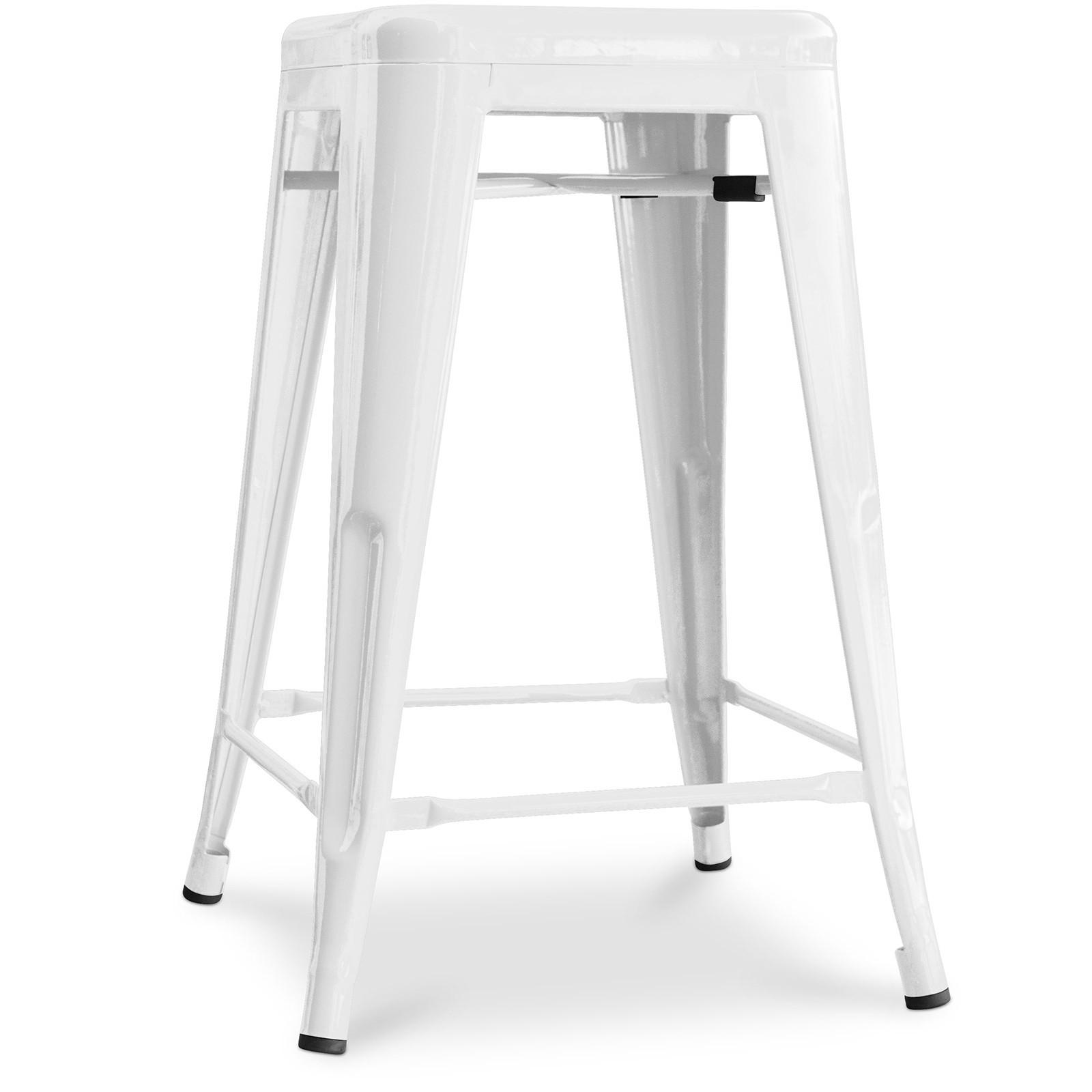 tabouret bar acier blanc brillant tolix 60 cm inspir xavier pauchard lot de 4. Black Bedroom Furniture Sets. Home Design Ideas