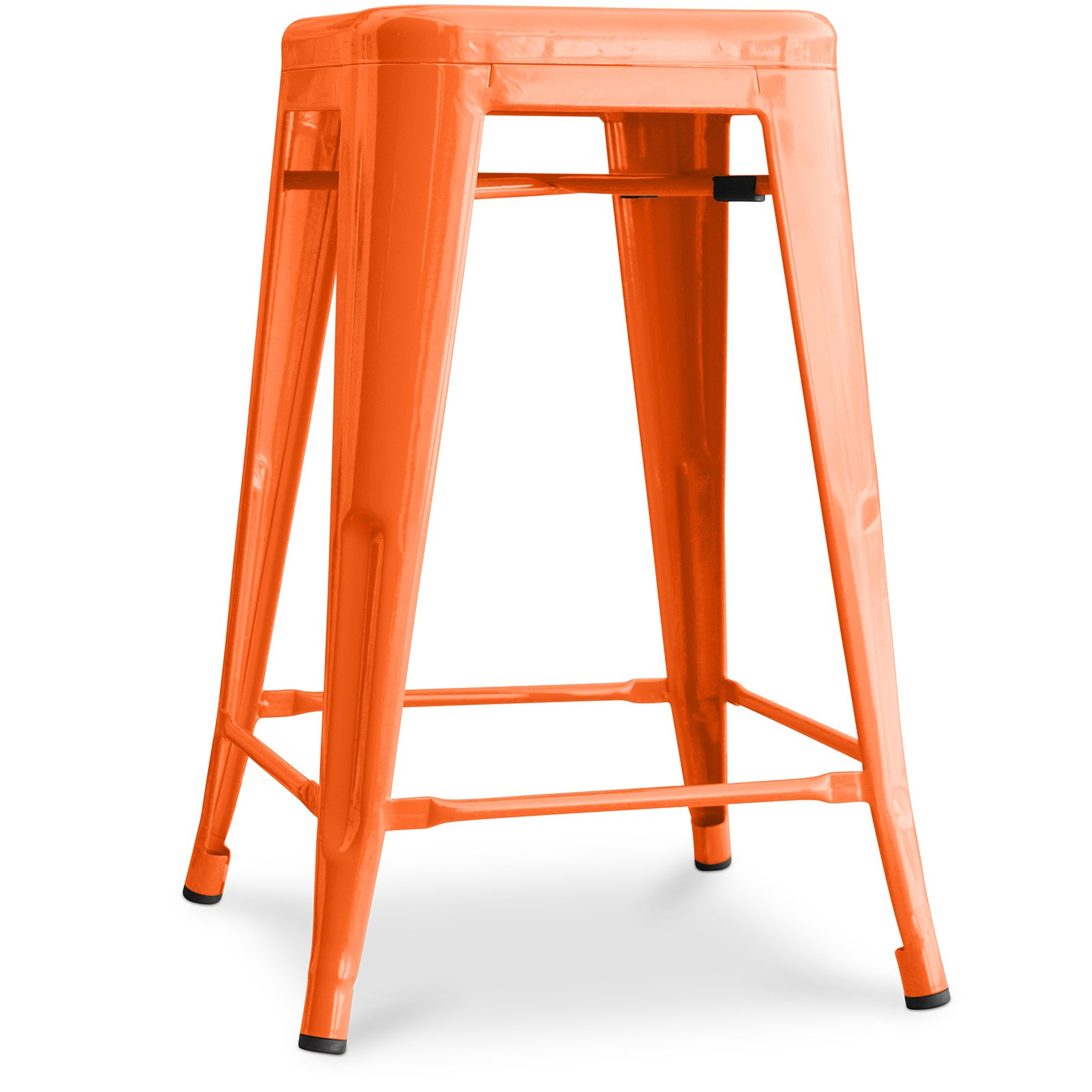 tabouret bar acier orange brillant tolix 60 cm inspir xavier pauchard lot de 4. Black Bedroom Furniture Sets. Home Design Ideas