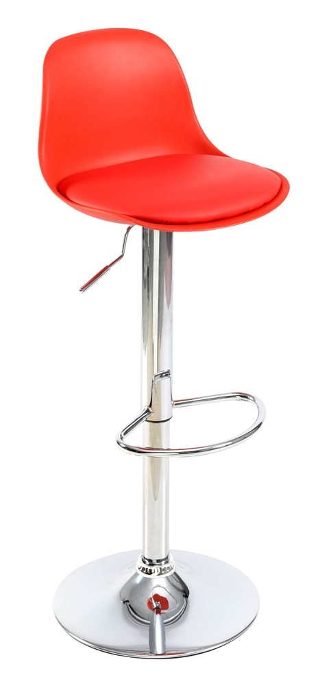 Tabouret chrome et pvc rouge joy - Pied de tabouret bar chrome ...