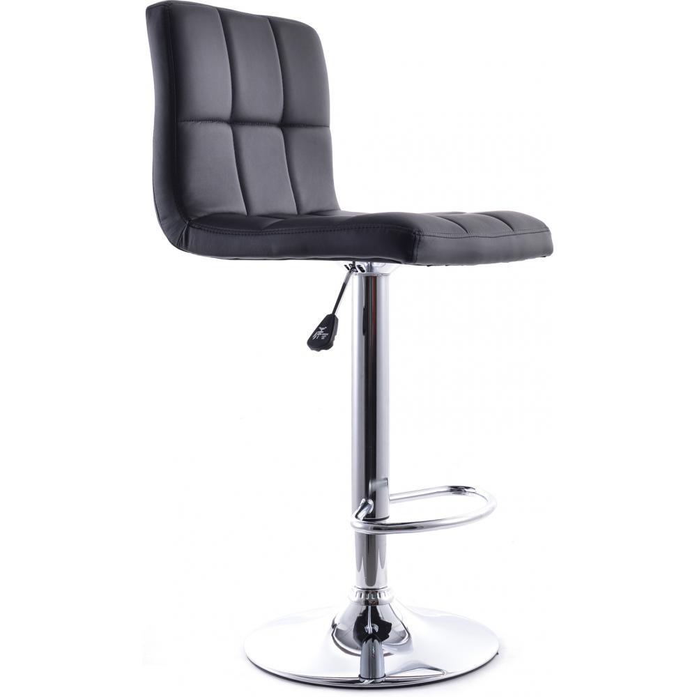 tabouret de bar acier chrom et assise simili noir star. Black Bedroom Furniture Sets. Home Design Ideas