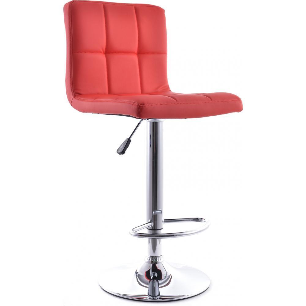 tabouret de bar acier chrom et assise simili rouge star. Black Bedroom Furniture Sets. Home Design Ideas