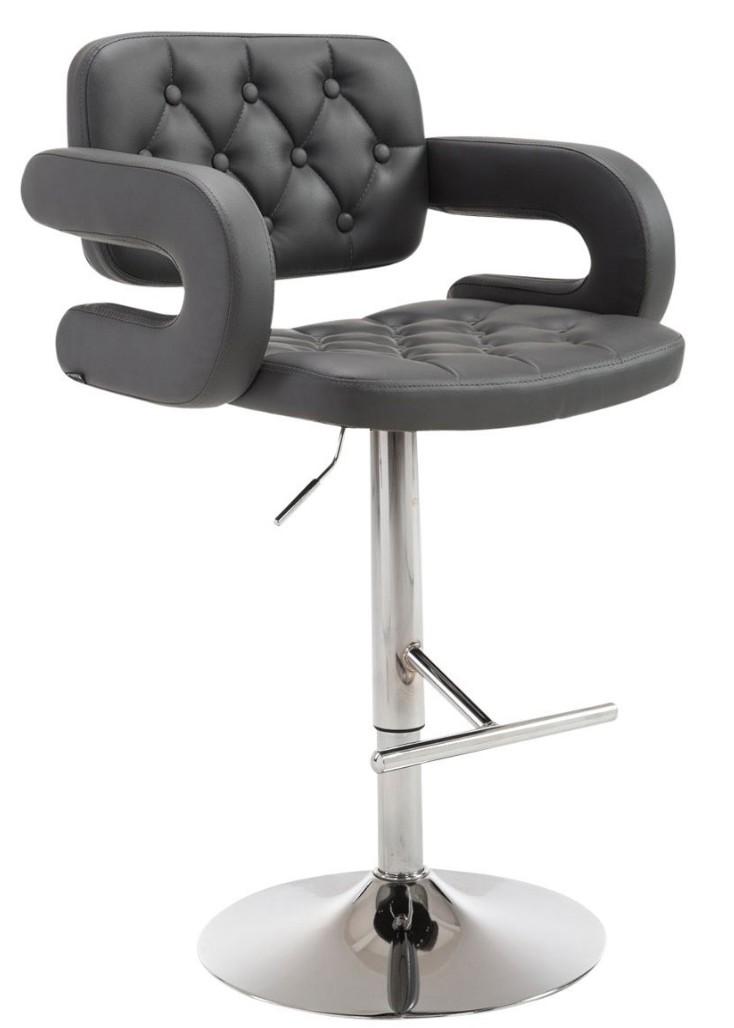 tabouret design capitonn simili gris fonc konfor. Black Bedroom Furniture Sets. Home Design Ideas