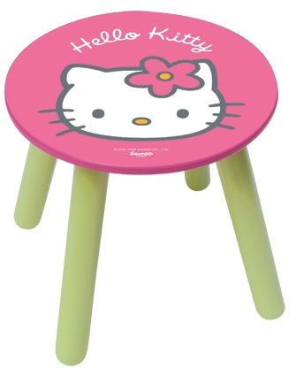 tabouret en bois rose et vert hello kitty. Black Bedroom Furniture Sets. Home Design Ideas