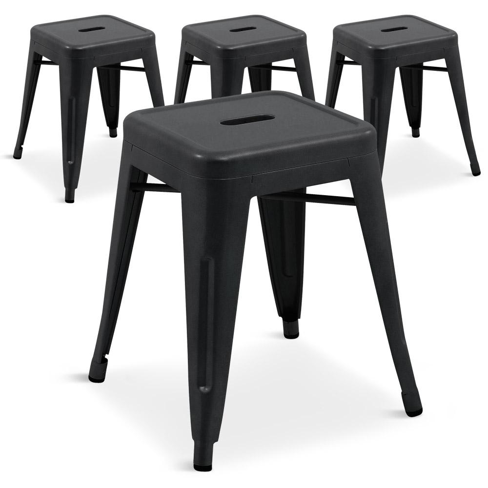 tabouret en m tal r tro lot de 4 couleur noir mat. Black Bedroom Furniture Sets. Home Design Ideas